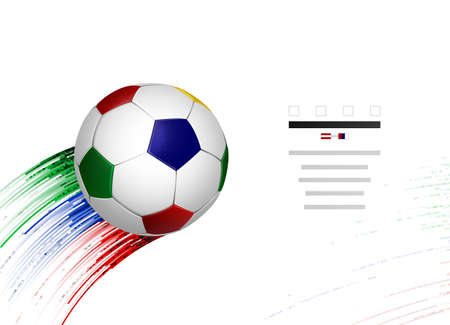 White and blue, red, green soccer football with geometric abstract sport design elements on the white background. Modern creative banner template.
