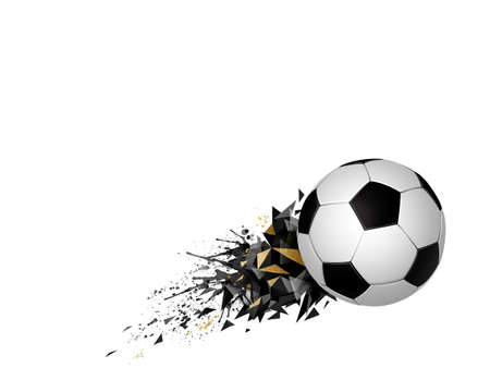 White and black soccer football with geometric abstract sport design element on the white background. Modern polygonal triangles and ball for creative banner template. Illustration