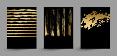 set of banners with gold texture abstract decoration formed by blots on the black background.