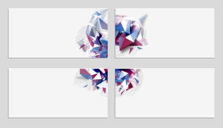 Set of elegant geometric abstract banners with glitch effect. Distorted design elements on the light four backgrounds. Illustration