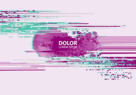 Abstract background with glitch effect. Modern design composition pink and emerald contrast color.