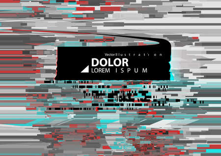 Abstract background with glitch effect. Modern design composition gray, red and emerald contrast color.