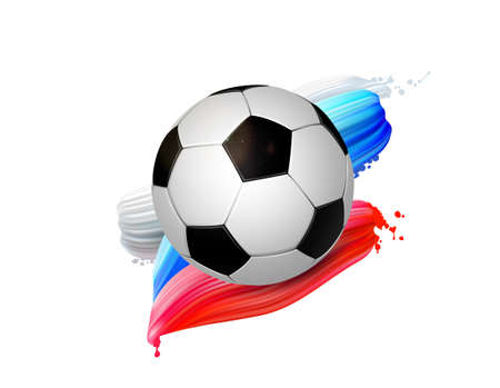 Black and white soccer ball with creative red and blue design elements. Football modern banner. Illustration
