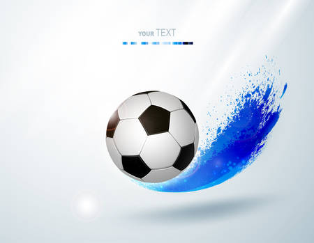 Black and white soccer ball with creative blue design elements. Football modern banner.