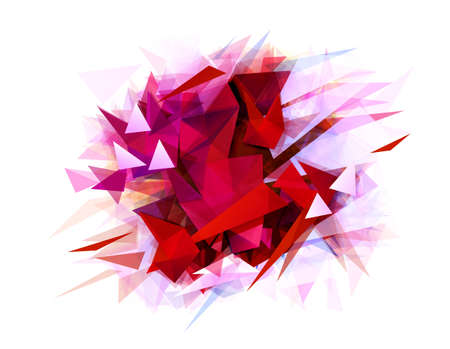 Modern abstract banner with red color and contrast graphic texture formed by geometric triangles.