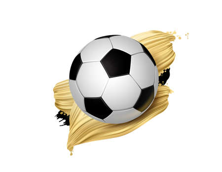 Black and white soccer ball with creative gold design elements. Football modern banner. 向量圖像
