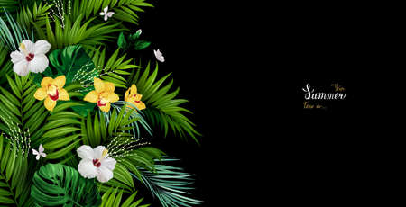 Holiday banner with green tropical palm, monstera leaves, Hibiscuses and yellow Orchids blooming flowers on the black background. White and gold texture lettering on the summer poster.