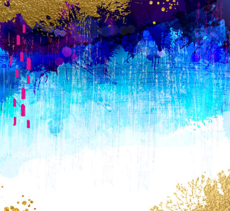 Bright contrast gold, cyan and blue watercolor stains on the grunge background. Abstract vector composition for the creative design.