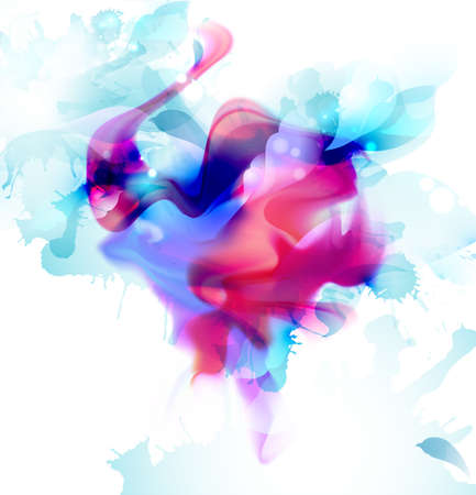 Magenta and blue colorful fantasy blot spread to the light background. Abstract vector composition for the bright design. 向量圖像