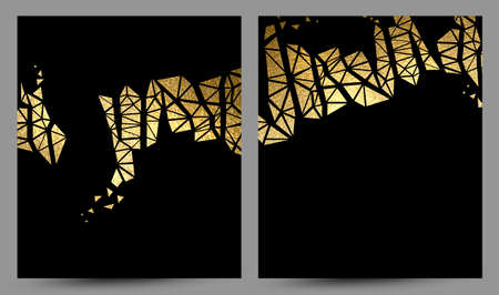 set of banners with gold texture abstract decoration on the black background. 向量圖像
