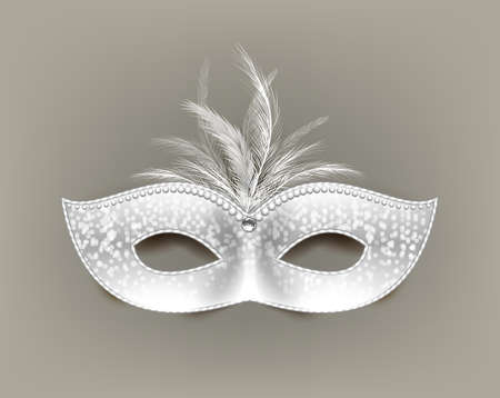 White universal carnival mask with feathers and decorations.