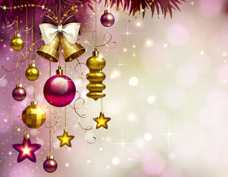 Christmas background with gold and color holiday evening balls, bell, stars, bow and branch of fir tree.
