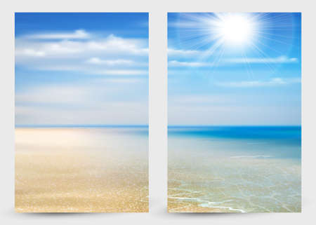 Set of two banners with Summer background with ocean, coastline, blue sky, sunshine and beach. 向量圖像