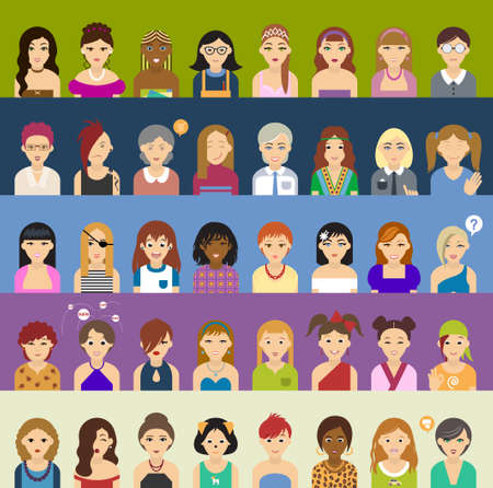 Avatar big set of diverse women. Forty of icons. 向量圖像
