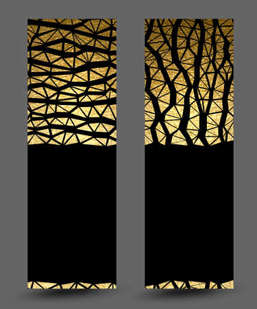 set of banners with gold texture vertical and horizontal abstract decoration on the black background.
