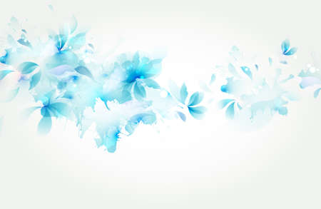 Tender background with blue abstract flower and blots