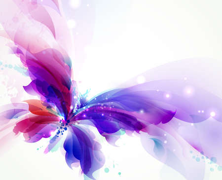 Abstract flying butterfly with blue, purple and cyan blots