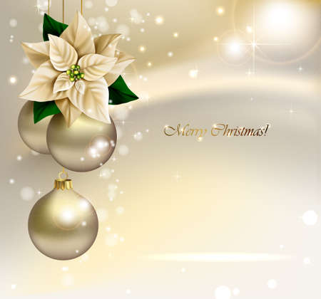 Holiday Christmas background with gold evening balls and poinsettia flower star.