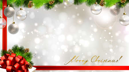 Light Christmas background with baubles, cones and gift with red bow