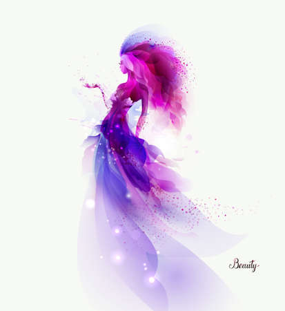 Purple decorative composition with girl on the white background. Magenta particles and shapes formed abstract woman figure. Reklamní fotografie - 108561277