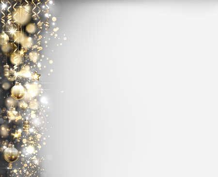 Xmas evening shining balls on the shine glimmered Christmas holiday gray background.