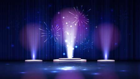 spotlight effect blue scene background with three podiums