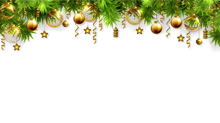 Christmas white background with fir tree and evening baubles 版權商用圖片