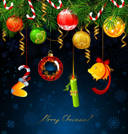 Holiday funny numbers of New Year 2019 with balls hanging from the fir tree