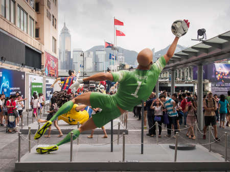 notable: Nike celebrates FIFA World cup 2014  by producing four-metre- tall replicas of notable football players at Habour City shopping mall, Hong Kong, on June 21, 2014