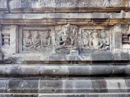 Ancient stone carving of Prambanan Temple, the 9th-century Hindu temple compound in Central Java, Indonesia, and is also a UNESCO world heritage site.