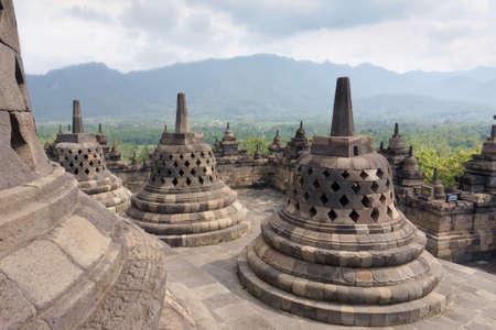 The 9th-century Mahayana Buddhist temple Borobudur, Magelang Regency, near Yogyakarta, Java Island, Indonesia .