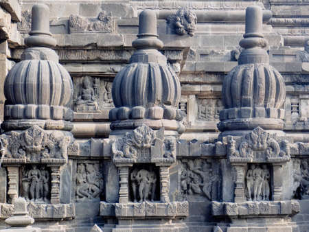 historica: Ancient stone carving of Prambanan Temple, the 9th-century Hindu temple compound in Central Java, Indonesia,