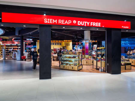 Siem Reap, Cambodia - October 31, 2016: Duty Free shops at Siem Reap International Airport, Cambodia