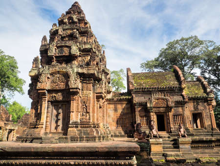 The stupa of Banteay  Srei or Banteay Srey Hindu Temple in Siem Reap, Cambodia 写真素材