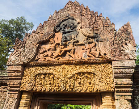 The stone carving gateway of Banteay  Srei or Banteay Srey Hindu Temple in Siem Reap, Cambodia