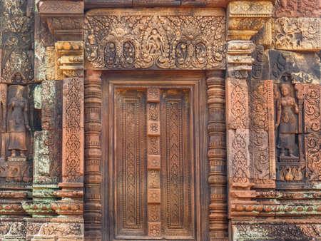 The stone door of Banteay  Srei or Banteay Srey Hindu Temple in Siem Reap, Cambodia 写真素材