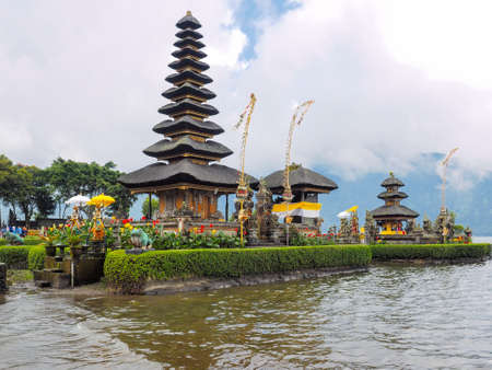 Bali, Indonesia - September 17, 2016: The scenery of Ulun Danu Beratan Temple, the Hindu temple in Tabanan Regency, Bali, Indonesia, which one of the tourist destination in Bali Island.
