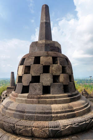 The pagoda of the 9th-century Mahayana Buddhist temple Borobudur, Magelang Regency, near Yogyakarta, Java Island, Indonesia . 写真素材