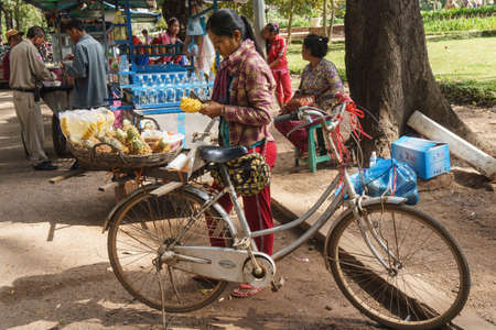 Siem Reap, Cambodia - October 29, 2016:  Unidentified woman peeling the pineapple which are on the bicycle for selling in the park near Preah Ang Chek and Ang Chom Shrine, at Siem Reap, Cambodia, 報道画像