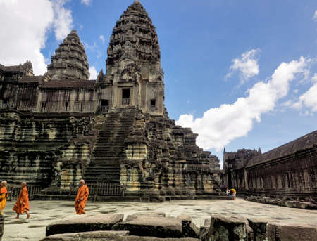 Siem Reap, Cambodia - October 30, 2016: the 12th century  temple building in Angkor Wat, visited by Buddhist monks