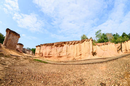 The rock formations in Phae Mueng Phi National park, Phrase Province, Thailand, shot by fisheye lens
