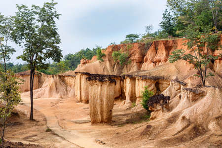 The rock formations in Phae Mueng Phi National park, Phrase Province, Thailand.