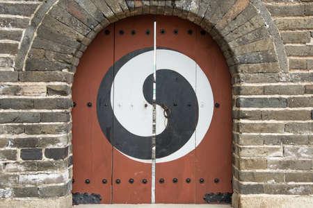 Korean traditional door at Hwaseong Fortress, Suwon city, South Korea
