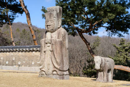 Stone civil official  at the royal tomb of the Joseon dynasty (1392-1910) at Gangneung royal tomb, Nowon District, Seoul, South Korea