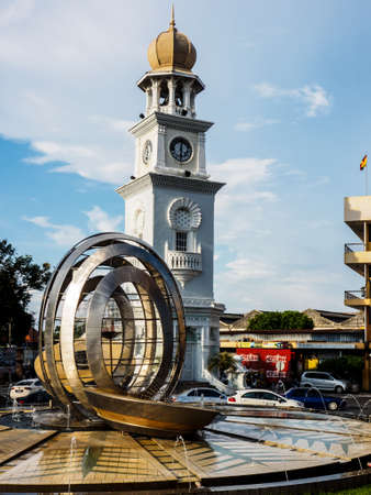 Georgetown, Penang,  Malaysia - June 02, 2016: Queen Victoria Memorial clock tower which was commissioned in 1897, during Penangs colonial days, to commemorate British Queen Victorias Diamond Jubile