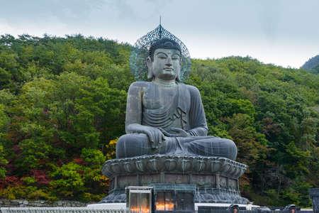 Buddha statue at Sinheungsa Temple in Seoraksan National Park, South korea