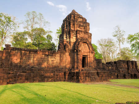 The ancient Khmer-style temple in Mueang Singh historical park in Kanchanaburi Province, Thailand, which is believed built in the 13th century.