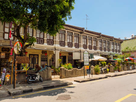 Penang, Malaysia - April 24,2017:  The heritage houses along the road to Mosque or Masjid Lebuh Aceh, in UNESCO World Heritage Site, George town, Penang, Malaysia