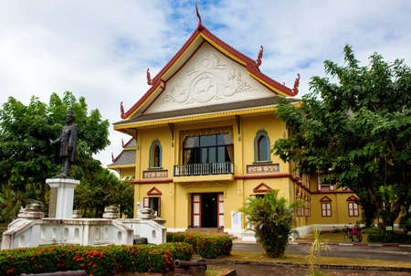 Nan, Thailand- December 16, 2016: The building of Nan National Museum was partly closed during the renovation. It was the old residence of former ruler of Nan city which was built in the 16th century.