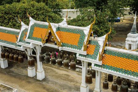 Row of bells in the pavilion of Phrabuddhabat temple, Saraburi Province, Thailand